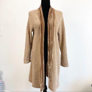 J. Jill Velvet Neck Long Sweater Cardigan
